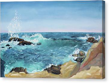 Splashing Wave  Gerstle Cove Park Canvas Print by Asha Carolyn Young