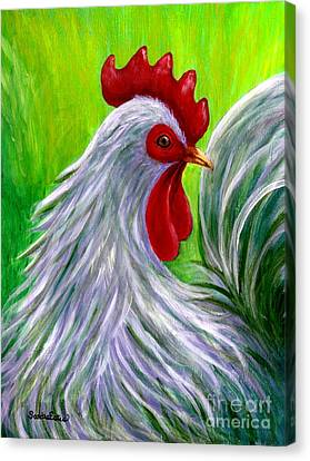 Splashy Rooster Canvas Print