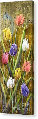 Splashy Tulips II With Gold Leaf By Vic Mastis Canvas Print by Vic  Mastis
