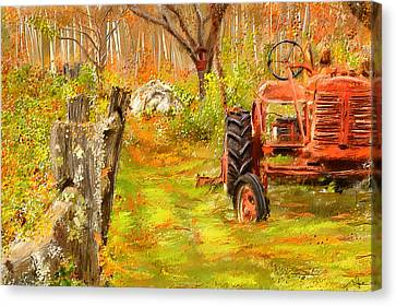 Splendor Of The Past - Red Tractor Art Canvas Print