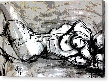 Canvas Print featuring the drawing Split by Helen Syron