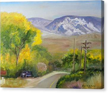 Canvas Print featuring the painting Split Mountain On Golf Course Road by Sherril Porter