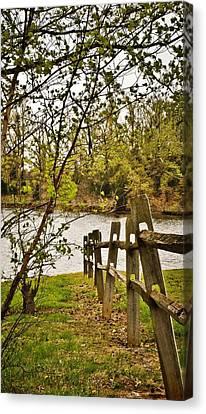 Split Rail Fence To Water Canvas Print by Greg Jackson
