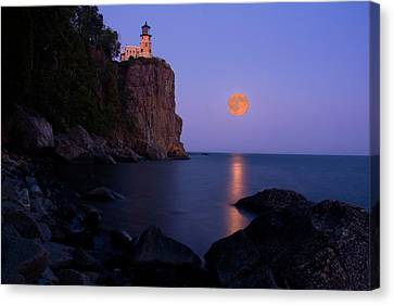 Split Rock Lighthouse - Full Moon Canvas Print by Wayne Moran