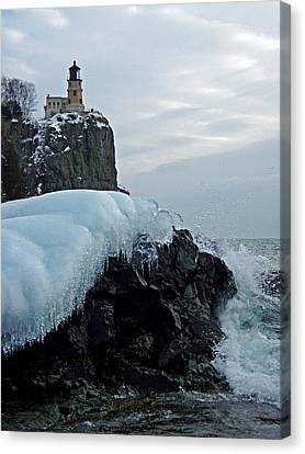 Split Rock Lighthouse Winter Canvas Print