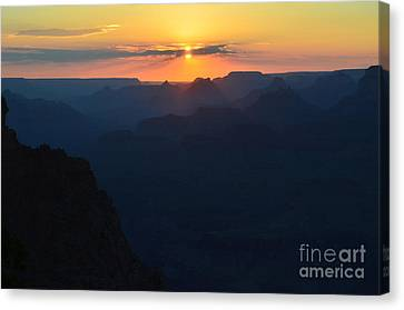 Split Sun Orange Sunset Twilight Over Silhouetted Spires In Grand Canyon National Park Canvas Print by Shawn O'Brien