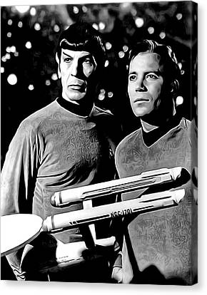 Spock And Captain Kirk Canvas Print by Daniel Hagerman