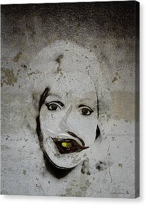 Spoiled Portrait In The Wall Canvas Print by Ramon Martinez