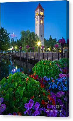 Spokane Clocktower By Night Canvas Print by Inge Johnsson