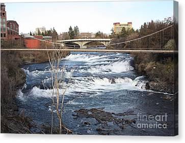 Spokane Falls In Winter Canvas Print by Carol Groenen