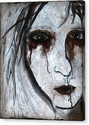 Spooky Gothic Zombie Portrait Painting Fine Art Print Canvas Print by Laura Carter