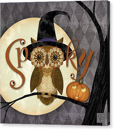 Spooky Owl Canvas Print by Valerie Drake Lesiak
