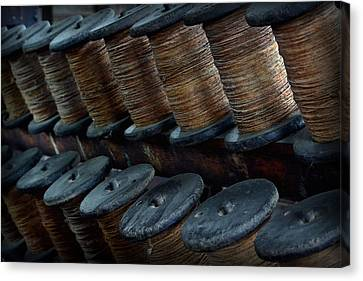 Canvas Print featuring the photograph Spools In A Row by Nadalyn Larsen