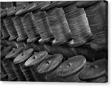 Canvas Print featuring the photograph Spools In The Rope House by Nadalyn Larsen