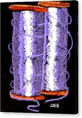 Canvas Print featuring the drawing Spools Of Thread Purple 1 by Joseph Hawkins