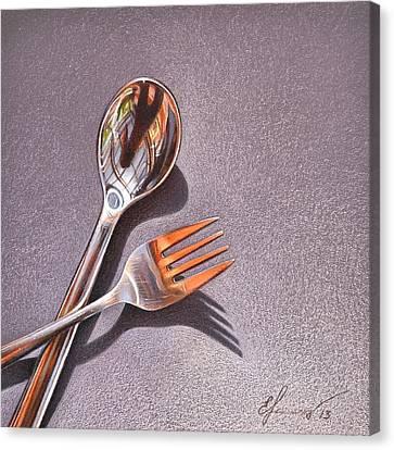 Spoon And Fork 1 Canvas Print by Elena Kolotusha
