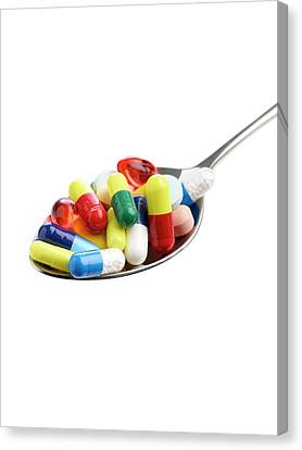 Spoon Full Of Tablets And Capsules Canvas Print