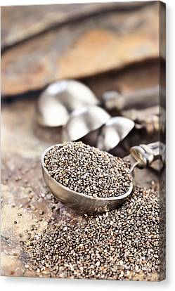 Spoonful Of Chia Seeds Canvas Print by Stephanie Frey