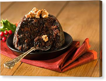 Spoonful Of Christmas Pudding Canvas Print by Amanda Elwell