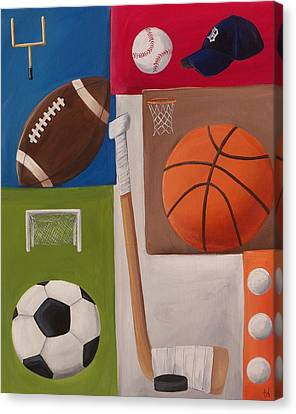 Sports Collage Canvas Print by Tracie Davis