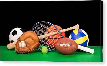 Basketball Collection Canvas Print - Sports Equipment by Joe Belanger