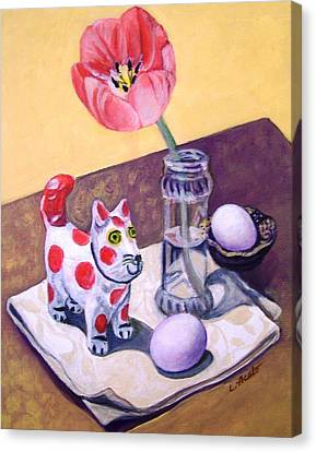 Canvas Print featuring the painting Spotted Cat by Laura Aceto