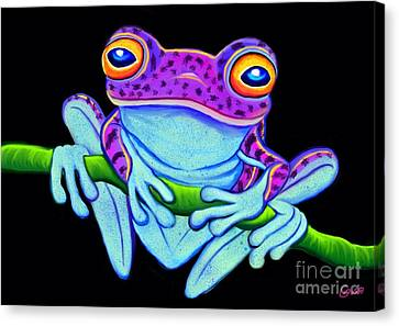 Spotted Purple Frog Canvas Print by Nick Gustafson