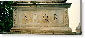 Spqr Text Carved On The Stone, Piazza Canvas Print by Panoramic Images
