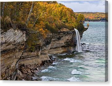 Spray Falls Autumn Colors Canvas Print by James Marvin Phelps