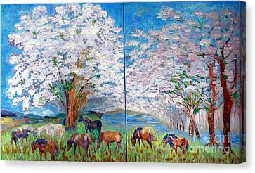Spring And Horses Canvas Print by Vicky Tarcau
