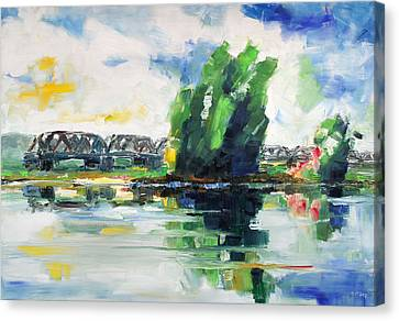 Spring At River Elbe Near Doemitz Germany Canvas Print by Barbara Pommerenke