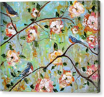 Spring Birds And Blooms Canvas Print by Karen Tarlton