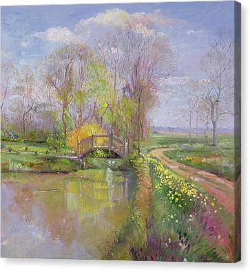 Spring Bridge Canvas Print by Timothy  Easton