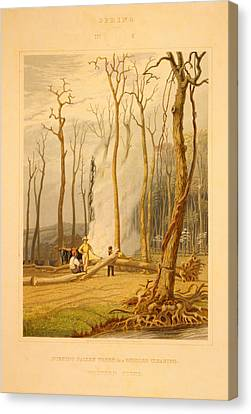 Spring--burning Fallen Trees In A Girdled Clearing--western Canvas Print by Litz Collection