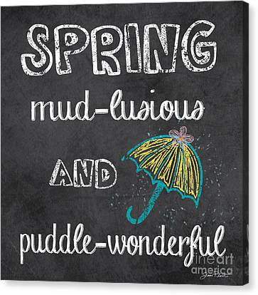 Spring Canvas Print - Spring Chalkboard Art-3 by Jean Plout