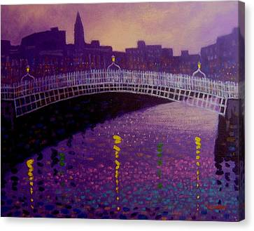 Spring Evening Ha Penny Bridge Dublin Canvas Print by John  Nolan