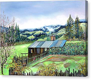Canvas Print featuring the painting Spring Farm by Asha Carolyn Young