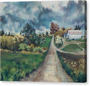 Canvas Print featuring the painting Spring Farm by Joy Nichols