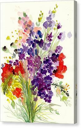 Spring Flowers Bouquet - Floral Watercolor Canvas Print