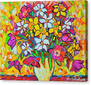 Spring Flowers Bouquet Colorful Tulips And Daffodils Canvas Print by Ana Maria Edulescu