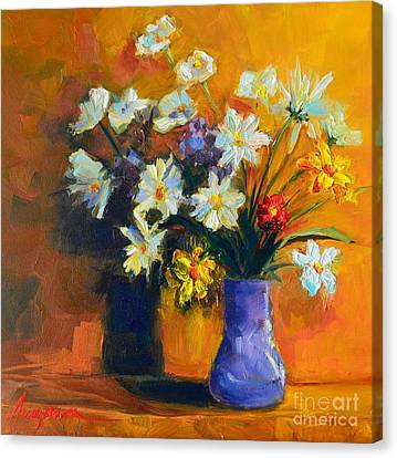 Spring Flowers In A Vase Canvas Print by Patricia Awapara