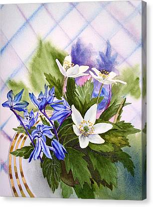 Canvas Print featuring the painting Spring Flowers by Irina Sztukowski
