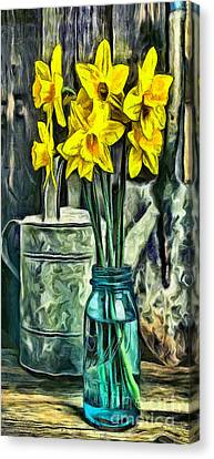 Daffodils Canvas Print - Spring Flowers Phone Case by Edward Fielding