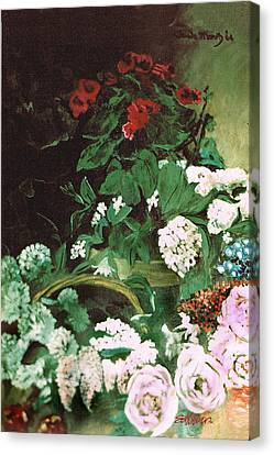 Spring Flowers Study Of Monet Canvas Print by Seth Weaver