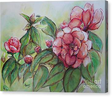 Spring Flowers Wet With Dew Drops Original Canadian Pastel Pencil Canvas Print by Aeris Osborne