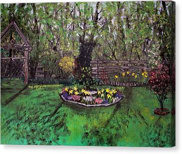 Canvas Print featuring the painting Spring Garden by Judy Via-Wolff