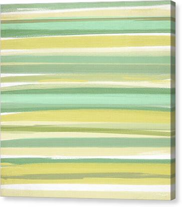 Green And Yellow Abstract Canvas Print - Spring Green by Lourry Legarde
