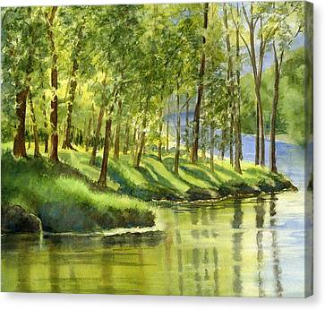 Spring Green Trees With Reflections Canvas Print by Sharon Freeman