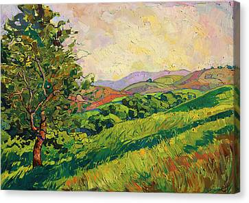 Canvas Print featuring the painting Spring Greens by Erin Hanson