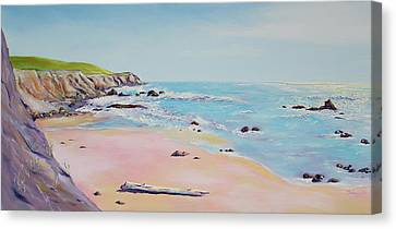 Spring Hills And Seashore At Bowling Ball Beach Canvas Print